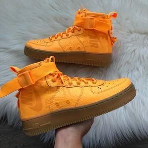 Brand New Nike Air Force 1 SF Mid OBJ Orange + Gum